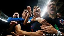 Soccer Football - World Cup - Semi Final - Croatia v England - Luzhniki Stadium, Moscow, Russia - July 11, 2018 Croatia's Mario Mandzukic celebrates scoring their second goal with teammates REUTERS/Carl Recine TPX IMAGES OF THE DAY