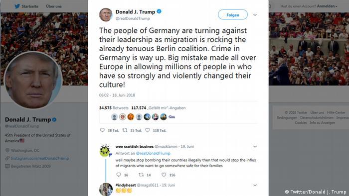 Screenshot Twitter - Trump twittert erneut gegen Deutschlands und Europas Migrationspolitik (Twitter/Donald J. Trump)