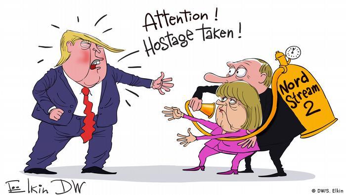 Karikatur Sergey Elkin - Donald Trump beim NATO-Gipfel - Englisch