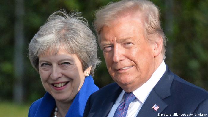 Theresa May and Donald Trump at the NATO summit