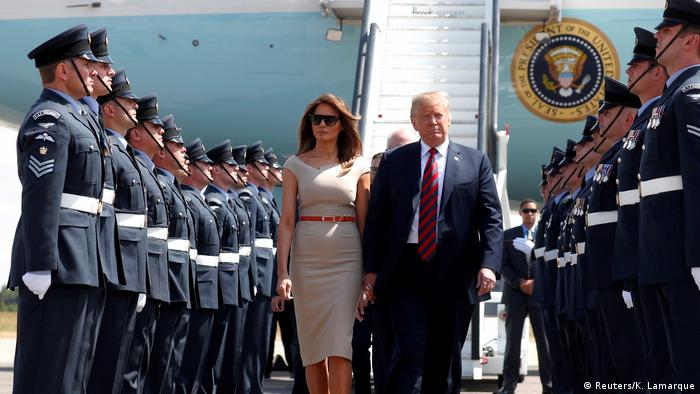 US President Donald Trump and first lady Melania Trump arrive at Stansted Airport