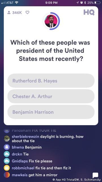 Screenshot der Smartphone App HQ Trivia