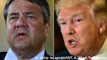 (COMBO) This combination of file photos created on January 16, 2017 shows US President-elect Donald Trump (R, January 9, 2017 in New York) and German Vice Chancellor, Economy and Energy Minister Sigmar Gabriel (May 24, 2016 in Meseberg). Europe should face Donald Trump with confidence, German Vice Chancellor Sigmar Gabriel said on January 16, 2017, after the US president-elect had predicted that more EU members would leave the bloc and charged that NATO was obsolete. / AFP / Timothy A. CLARY AND Tobias SCHWARZ (Photo credit should read TIMOTHY A. CLARY,TOBIAS SCHWARZ/AFP/Getty Images)