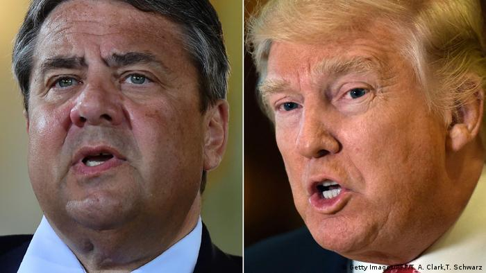Sigmar Gabriel und Donald Trump (Getty Images/AFP/T. A. Clark,T. Schwarz)