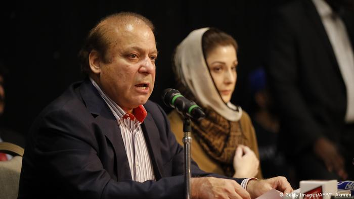 Former PM Sharif with his daughter Maryam at a press conference in London (Getty Images/AFP/T. Akmen)