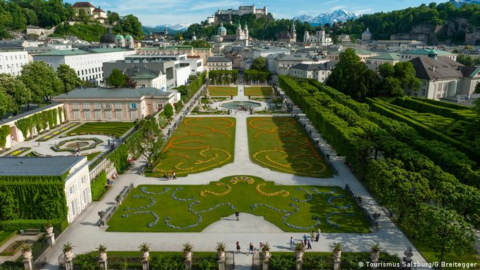 A view of the Mirabell Palace and grounds from above. (Tourismus Salzburg/G.Breitegger)