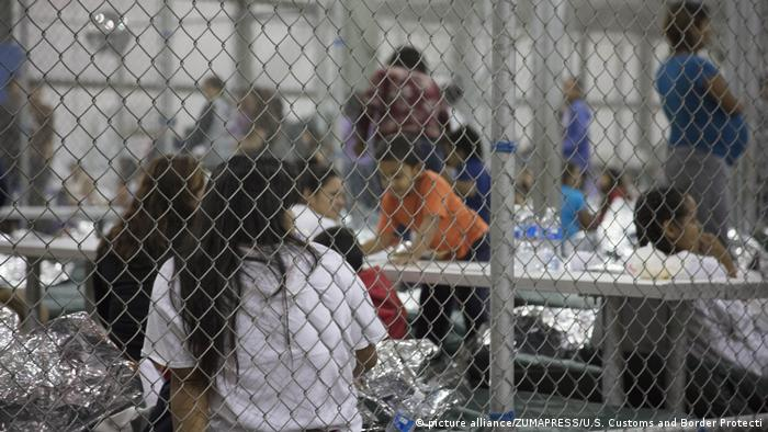 Children in a cage facility at McAllen, Texas