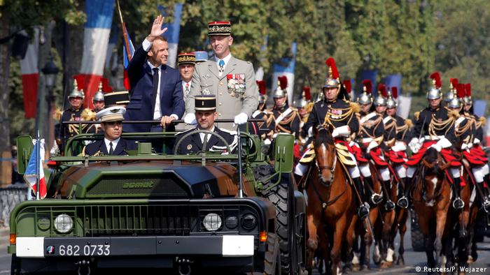 Emmanuel Macron and General Francois Lecointre ride down the Champs Elysees (Reuters/P. Wojazer)