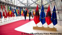 President of European Council, Tusk and Albania Prime Minister, Rama in Brussels for opening negotiations, 13 july 2018.