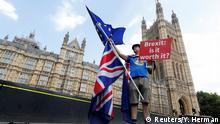 Großbritannien Brexit - EU-Befürworter protestiert auf der Westminster Bridge in London