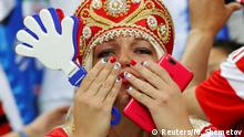 Soccer Football - World Cup - Quarter Final - Russia vs Croatia - Fisht Stadium, Sochi, Russia - July 7, 2018 Russia fan inside the stadium before the match REUTERS/Maxim Shemetov
