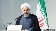 VIENNA, AUSTRIA - JULY 04: Iranian President Hassan Rouhani speaks at the Austrian Chamber of Commerce on July 4, 2018 in Vienna, Austria. Rouhani is on a one-day visit to Austria, during which he is meeting with President van der Bellen and Chancellor Kurz and will attend an event at the Austrian Chamber of Commerce. (Photo by Michael Gruber/Getty Images)