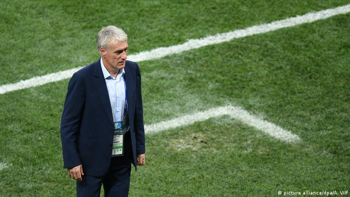 French coach Deschamps watches his players during the World Cup final soccer in 2018