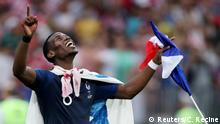 15.7.2018*** Soccer Football - World Cup - Final - France v Croatia - Luzhniki Stadium, Moscow, Russia - July 15, 2018 France's Paul Pogba celebrates winning the World Cup REUTERS/Carl Recine