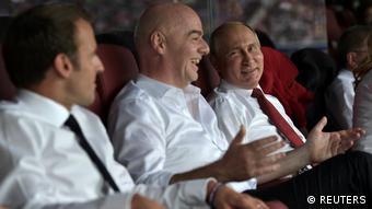 Russland WM 2018 Finale Macron, Infantino und Putin