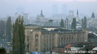 Mountains surround the city of Sarajevo