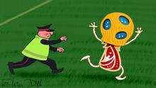 : Sergey Elkin, Karikatur, Russland, Pussy Riot, WM-Finale, Flitzer-Aktion Bildbeschreibung: Karikatur - ein Sicherheitsmann läuft über ein Fußballfeld dem WM-Pokal nach, auf dem typische für Pussy Riot Kopfbedeckung zu sehen ist.