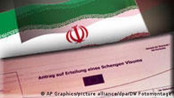 Symbolbild Iran Eu Schengen Visum (AP Graphics/picture alliance/dpa/DW Fotomontage)
