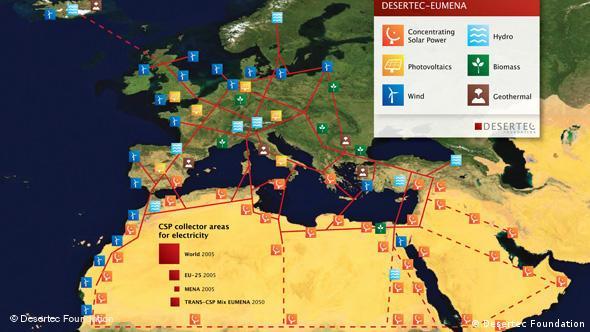 Desertec Projekt Karte in Afrika Wüste Photovoltaik