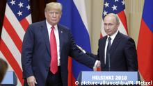 HELSINKI, FINLAND - JULY 16, 2018: US President Donald Trump (L) and Russia's President Vladimir Putin give a joint news conference following their meeting at the Presidential Palace. Mikhail Metzel/TASS Foto: Mikhail Metzel/TASS/dpa |