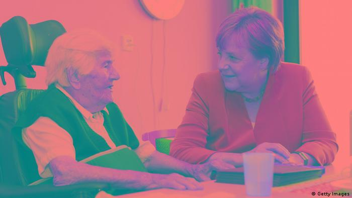 Angela Merkel at an elderly home in Paderborn (Getty Images)