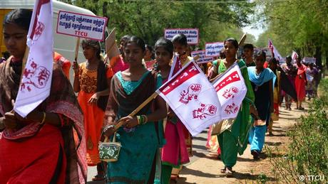 Textile workers in a demonstration in South India (TTCU)