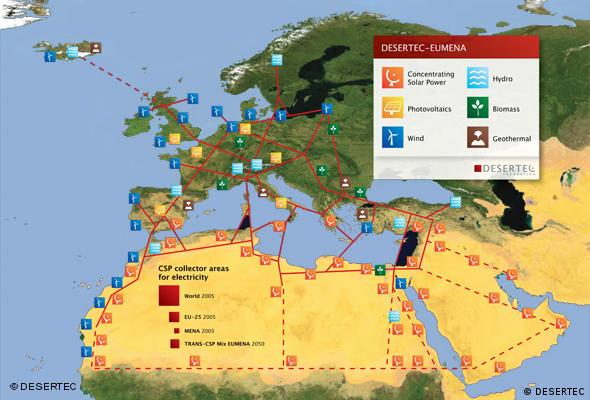 Map of the Desertec project
