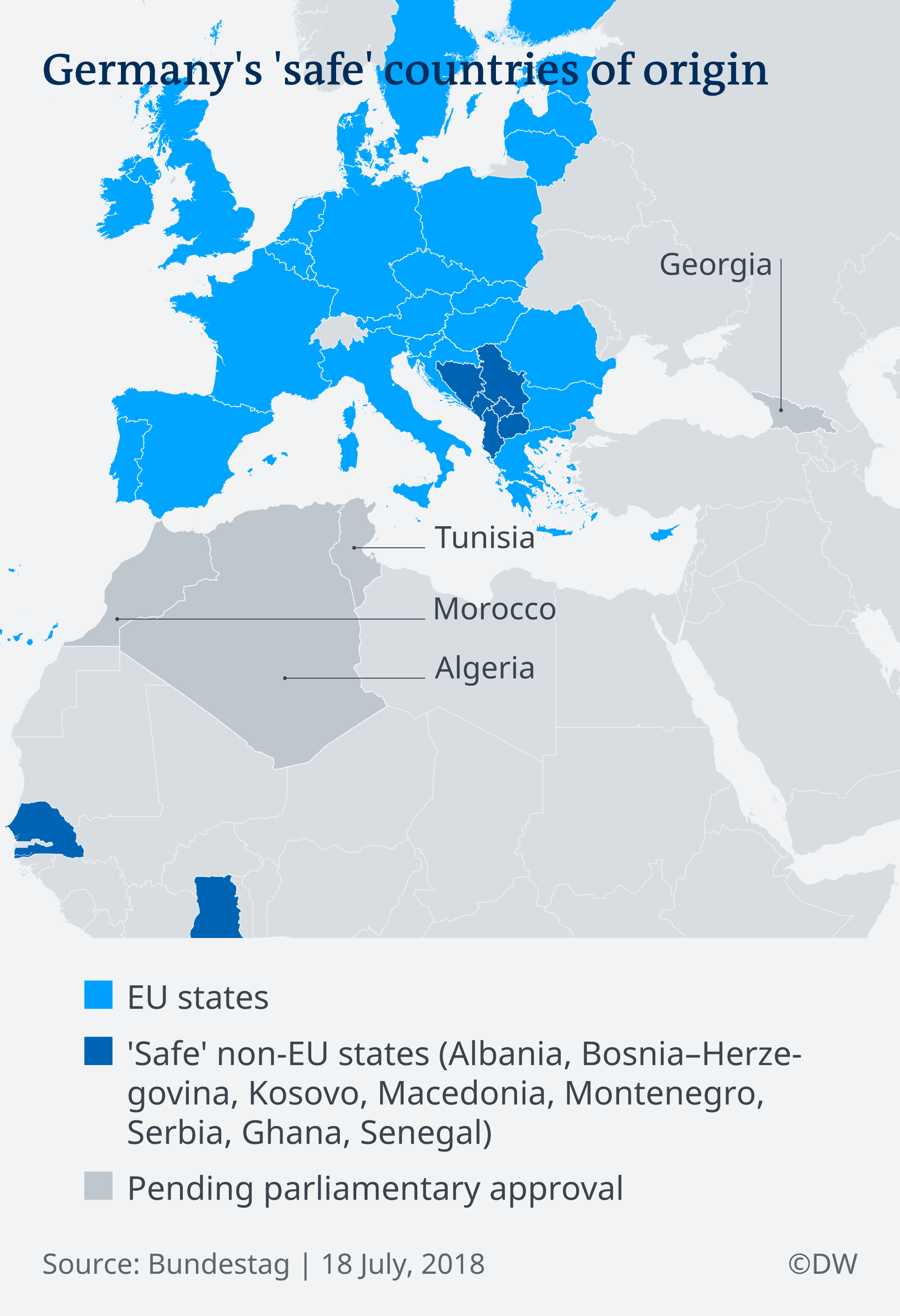 Map showing countries classified as safe by the German government