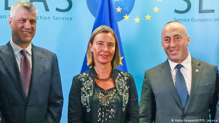 European Union High representative for foreign affairs and security policy Federica Mogherini (center) welcomes Kosovo's President Hashim Thaci (left) and Kosovo's Prime Minister Ramush Haradinaj