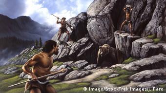 Neandertaler Jagt auf Höhlenbär