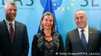 SEAE Mogherini - Vucic - Thaci -Treffen in Brüssel (Getty Images/AFP/S. Lecocq)