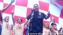 16.07.2018., Croatia, Zagreb - Ceremonial reception for Vatreni at Ban Josip Jelacic Square. Croatian national football team won second place at the 2018 World Cup in Russia. Marko Perkovic Thompson Photo: Goran Stanzl/PIXSELL |