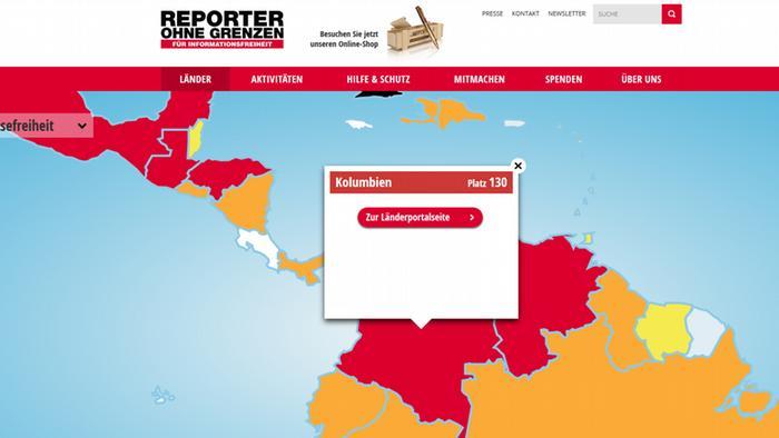 Screenshot Reporter ohne Grenzen Karte Ranking Pressefreiheit
