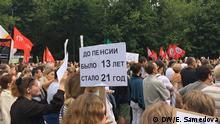 Russland Protest gegen die Rentenreform in Moskau