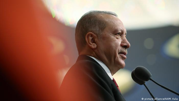President of Turkey Recep Tayyip Erdogan delivers a speech