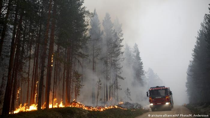 Firefighters work to put out a wildfire in Karbole, Sweden