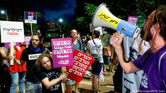 Israel Tel Aviv Protest gegen Nationalstaatsgesetz (Getty Images/AFP/J. Guez)