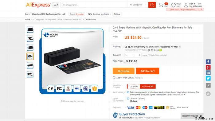 A screenshot of Ali Express website selling a credit card skimming device