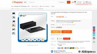 Screenshot Ali Express Skimming Kreditkarte Verkauf Gerät Betrug