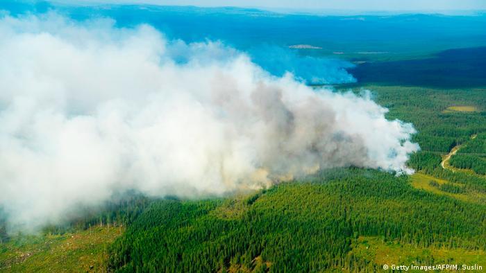 Aerial image of forest fires near Ljusdal, Sweden