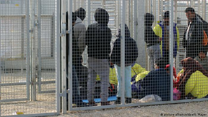 Asylum-seekers waiting in Hungarian transit- zone