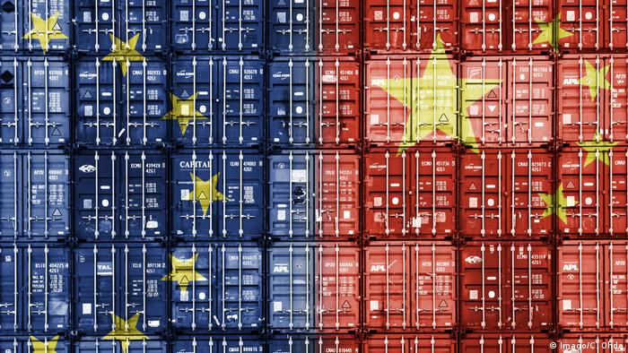 Containers with EU and China flags