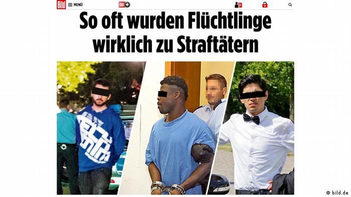 Screenshot - Bild: So oft wurden Flüchtlinge wirklich zu Straftätern (bild.de)