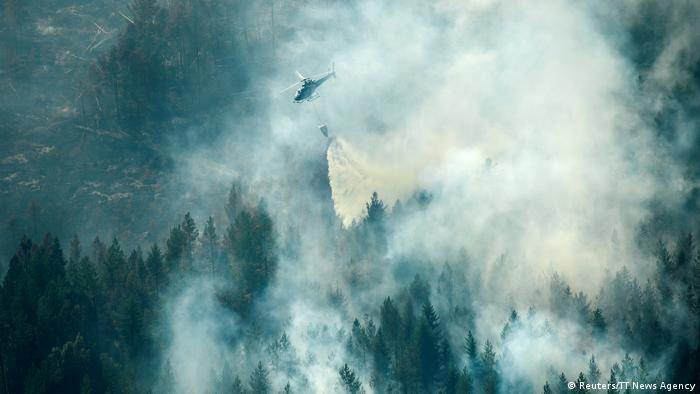 An aerial view of Sweden wildfires