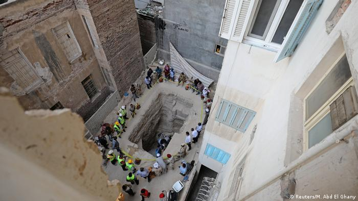 The excavation site in Alexandria, where an apartment complex was to be built