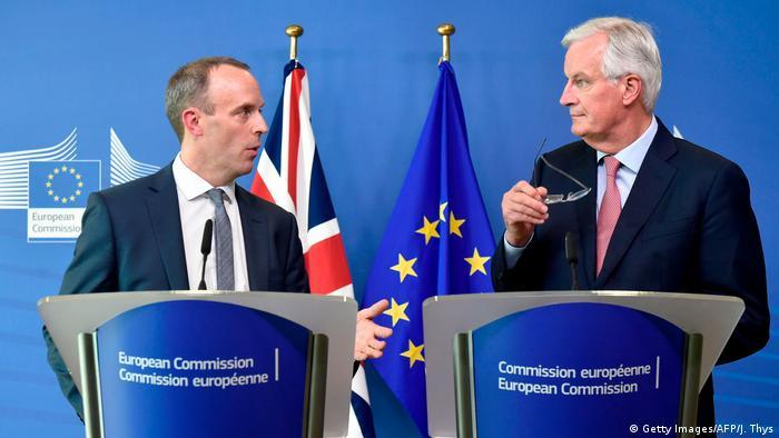 Belgien - Brexit-Minister Raab und EU-Chefunterhändler Barnier