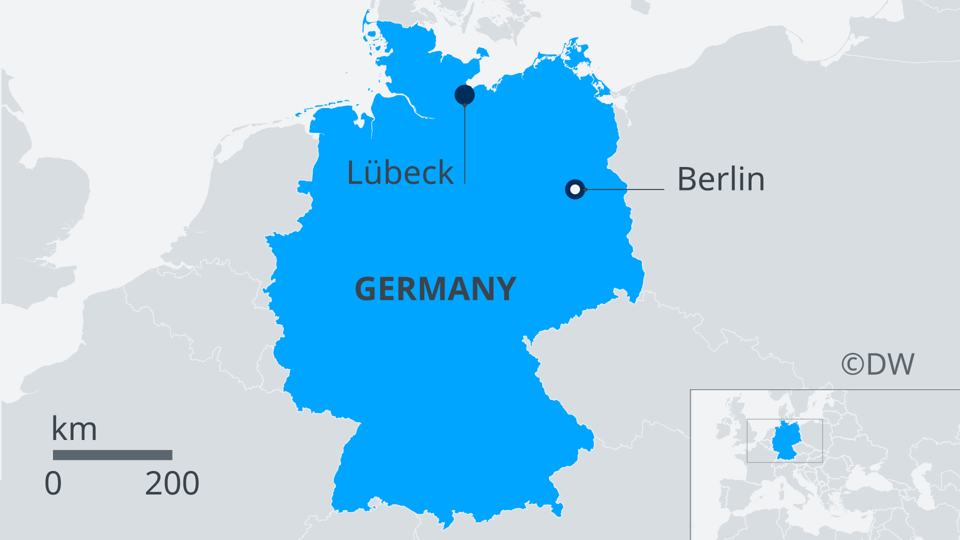A map of Germany showing Lübeck