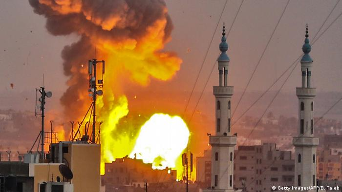 A fireball exploding in Gaza City during an Israeli bombardment on July 20