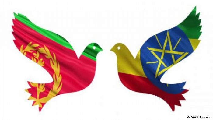 The outline of two doves with the colors of Ethiopia and Eritrea flags