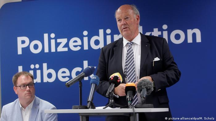 German federal state Schleswig-Holstein's home secretary Hans-Joachim Grote pictured standing